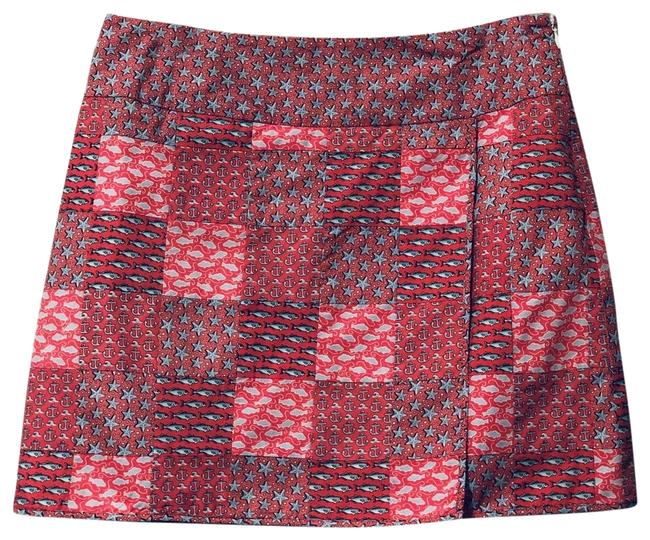 Item - Coral Light Blue White and Navy Patchwork Skirt Size 6 (S, 28)