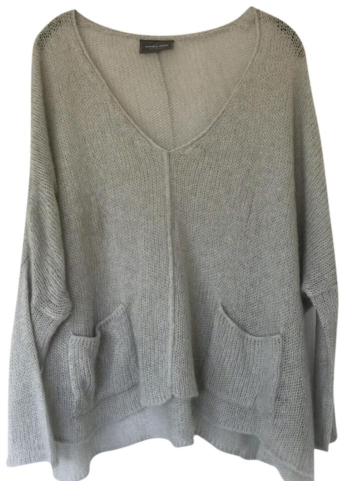 Wooden Ships Paola Buendia Oversized Knit M Pocket Seam Gray Sweater