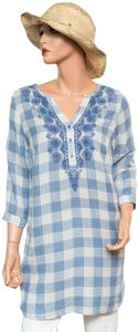 Soft Surroundings Checkerboard 1/4 Button Tunic