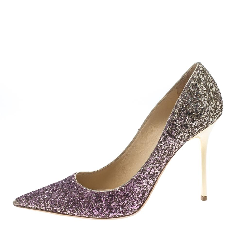 f23192b11302 Jimmy Choo Pink Gold Degrade Coarse Glitter Abel Pointed Pumps. Size  EU  38.5 (Approx.