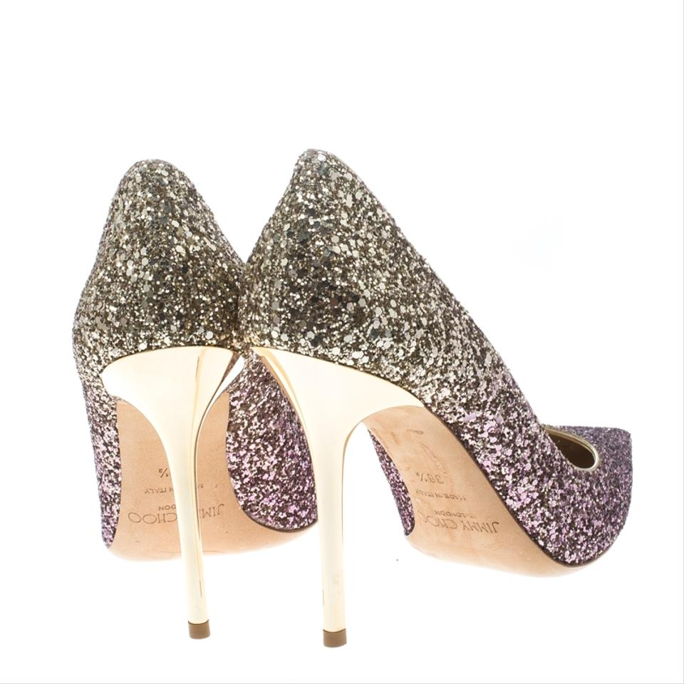 edfd73ad8ef1 Jimmy Choo Pink Gold Degrade Coarse Glitter Abel Pointed Pumps Size EU 38.5  (Approx. US 8.5) Regular (M