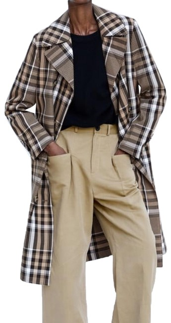 Item - Camel New Plaid Double-breasted Coat Size 12 (L)