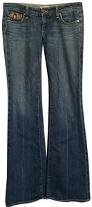 Paige Leather Boot Cut Jeans-Dark Rinse