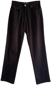MCM Black Made In Italy Cotton Stretch Straight Pants The Golden Jeans