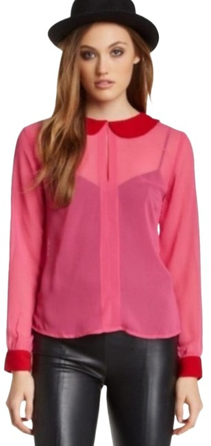 Item - Pink & Red Kristy Blouse Size 6 (S)