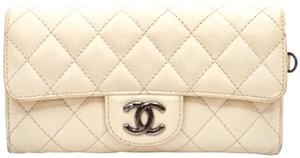 Chanel Quilted Off-White Thick Leather Wallet
