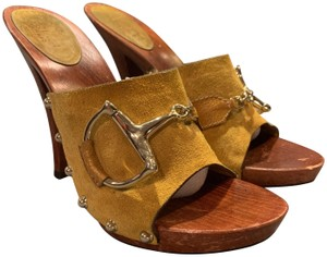 Gucci Wood Suede Leather Horse Bit Studded Mustard Mules