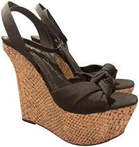 c844e2017f16 Alice + Olivia Cork Snakeskin Knot Bow Ankle Strap Black Wedges