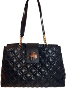 Kate Spade Quilted Chain Turnlock Leather Tote in Black