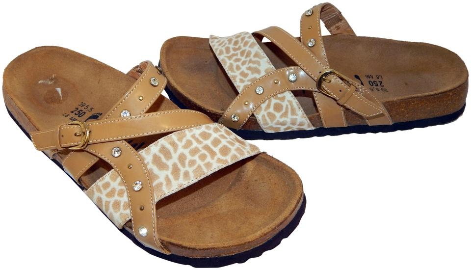 07899afa6790 Birkenstock Brown Betula Jeweled Leather Animal Print Strappy ...