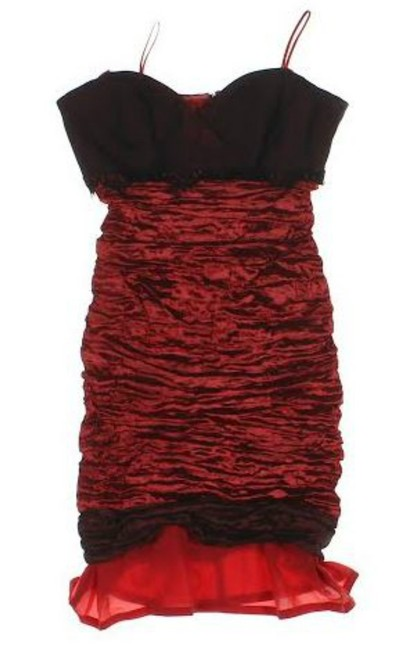 Preload https://img-static.tradesy.com/item/24833663/nicole-miller-black-and-red-empire-waist-rouched-mid-length-cocktail-dress-size-2-xs-0-0-650-650.jpg