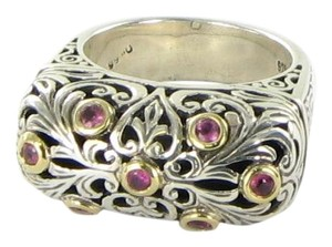 Konstantino Konstantino Filigree Ring Pink Tourmaline 18K Gold Sterling 925
