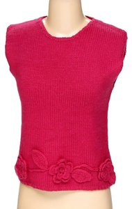 RQT Knitted Crochet Floral Accent Embroidered Top pink