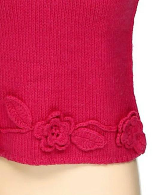 RQT Knitted Crochet Floral Accent Embroidered Top pink Image 1
