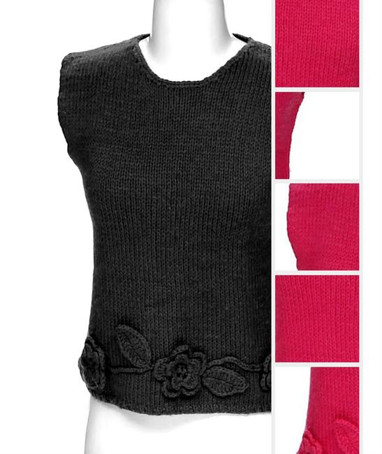 RQT Knitted Crochet Floral Accent Embroidered Top pink Image 2