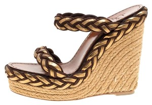 Christian Louboutin Leather Espadrille Gold Sandals