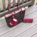 Michael Kors Mk Carryall Saffiano Leather Travel Carryall Dusty Rose Tote in brown/cherry Image 1