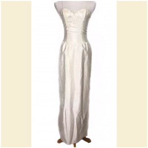 Prestige Off White Taffeta Jacketed Sequined 2pc Formal Wedding Dress Size 4 (S)