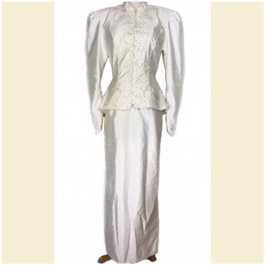 Prestige Off White Taffeta Jacketed Sequined 2pc Formal Wedding Dress Size 4 (S) Image 3