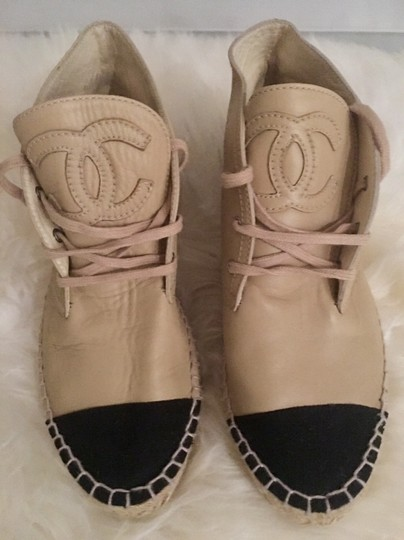 Chanel Lace Up High Top Flats Espadrilles Sneakers Beige Boots Image 1