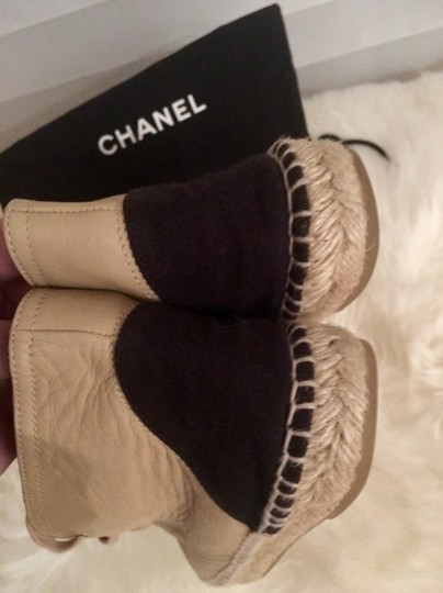 Chanel Lace Up High Top Flats Espadrilles Sneakers Beige Boots Image 2