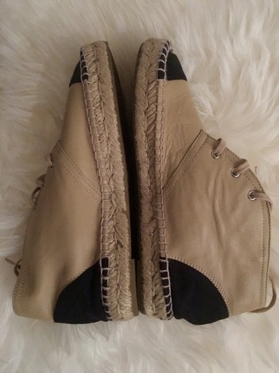 Chanel Lace Up High Top Flats Espadrilles Sneakers Beige Boots Image 4
