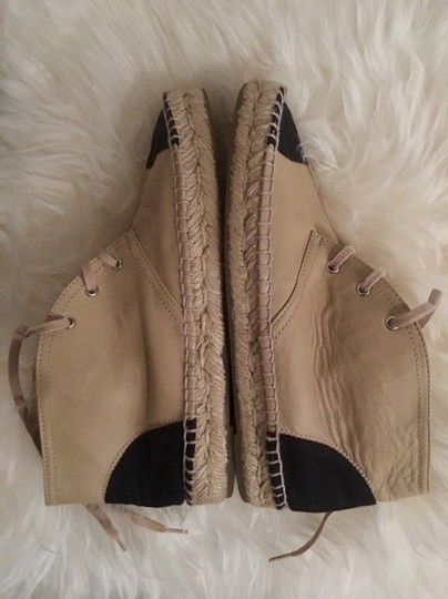 Chanel Lace Up High Top Flats Espadrilles Sneakers Beige Boots Image 5