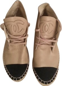 Chanel Lace Up High Top Flats Espadrilles Sneakers Beige Boots