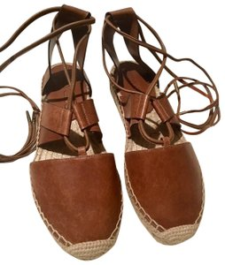 Jimmy Choo Espadrilles Gladiator Lace Up Leather Brown Flats