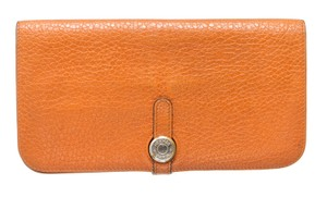 Hermès Hermes Orange Clemence Dogon Wallet GHW 487777