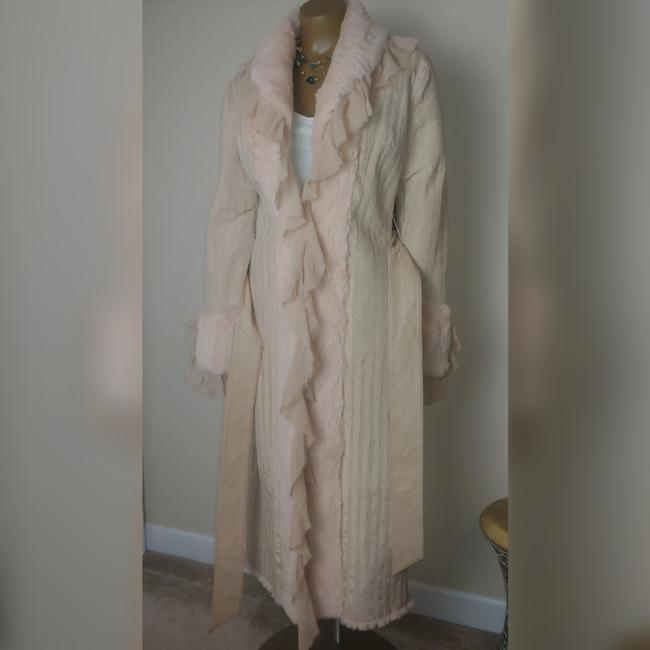 Item - Cream and Pale Pink Silk Leather Coat Size 8 (M)