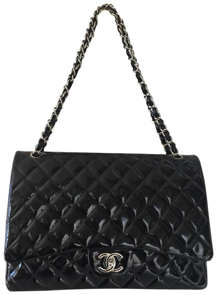 1d4ff7c24051 Chanel Double Flap Quilted Maxi Black Patent Leather Shoulder Bag ...