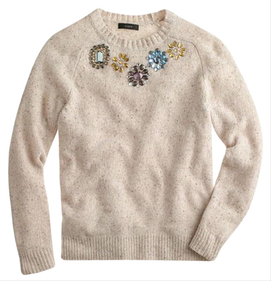 1036150fb J.Crew Jeweled Donegal Lambswool 08663 Natural Sweater - Tradesy