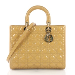 Dior Lady Large Purse Christian Tote in Yellow
