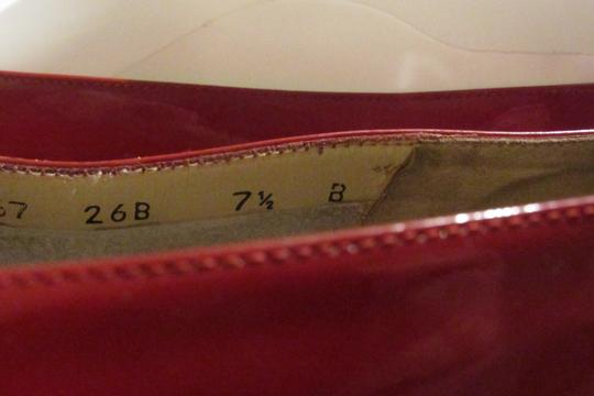 Salvatore Ferragamo Mint Condition Xl Perfect Pop Of Color 7.5b red patent leather with an extra large Vara accent at the toes Flats Image 1