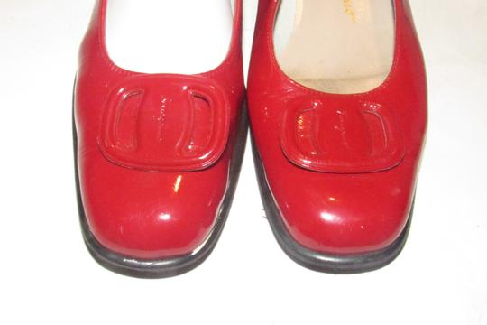 Salvatore Ferragamo Mint Condition Xl Perfect Pop Of Color 7.5b red patent leather with an extra large Vara accent at the toes Flats Image 2