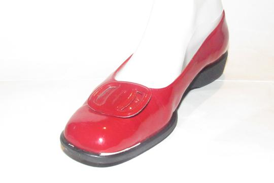 Salvatore Ferragamo Mint Condition Xl Perfect Pop Of Color 7.5b red patent leather with an extra large Vara accent at the toes Flats Image 3