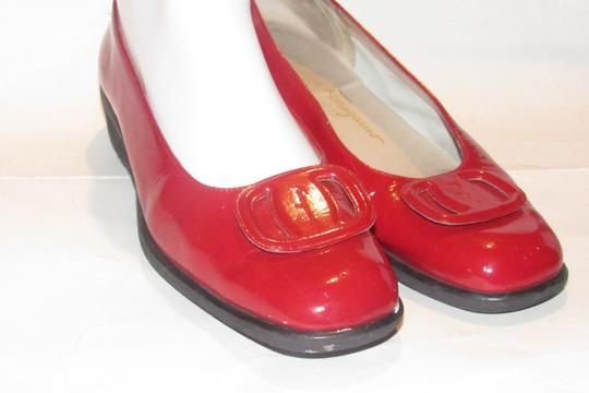Salvatore Ferragamo Mint Condition Xl Perfect Pop Of Color 7.5b red patent leather with an extra large Vara accent at the toes Flats Image 4