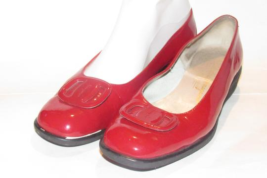 Salvatore Ferragamo Mint Condition Xl Perfect Pop Of Color 7.5b red patent leather with an extra large Vara accent at the toes Flats Image 8