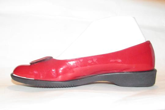 Salvatore Ferragamo Mint Condition Xl Perfect Pop Of Color 7.5b red patent leather with an extra large Vara accent at the toes Flats Image 9