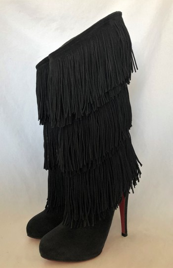Christian Louboutin High Heels Over Knee Suede Black Boots Image 3