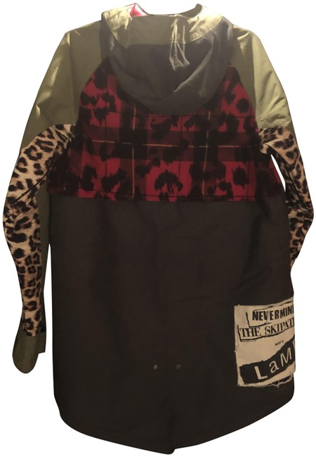 Item - Army Green/ Leopard Multi / Lamb Snowboard Jacket New Sold Out Everywhere Activewear Size 12 (L)