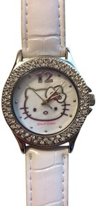 Sanrio Hello Kitty Rhinestone Bezel Watch with Crocodile Embossed Strap