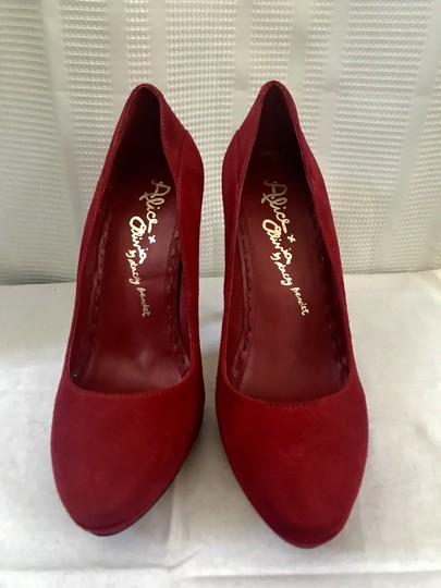 Alice + Olivia Suede Garnet Red Pumps Image 2