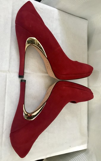 Alice + Olivia Suede Garnet Red Pumps Image 3