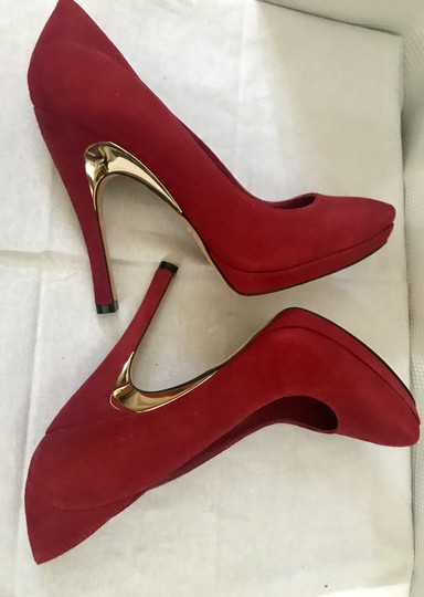 Alice + Olivia Suede Garnet Red Pumps Image 4