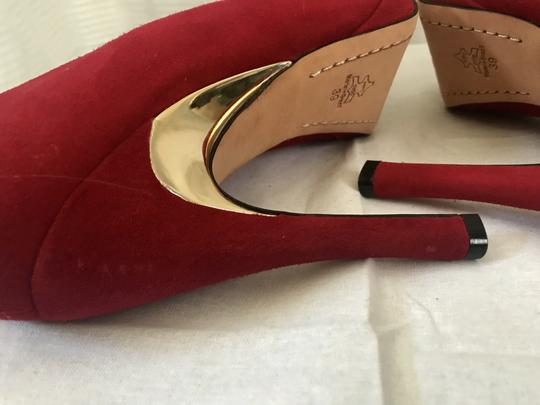 Alice + Olivia Suede Garnet Red Pumps Image 6