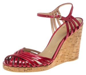 Stuart Weitzman Cork Patent Leather Red Sandals
