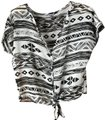 Charlotte Russe Self-tie Waist Geometric Print Short Sleeves V-neck Polyester Top White w/Black Image 0