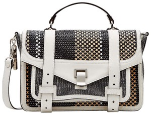 Proenza Schouler Ps1 Medium Ps1 Leather Satchel in Multicolor Woven Canvas and